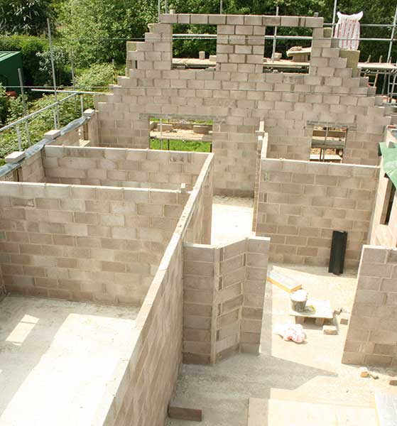 clockwork external walls being built for a Gloucestershire self build