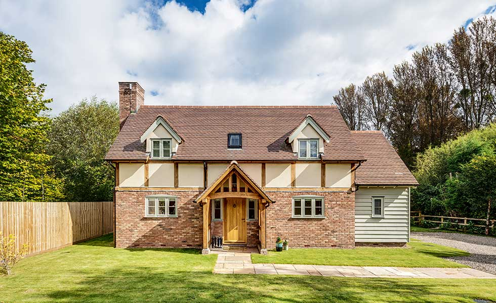 off mains oak cottage self build in Worcestershire