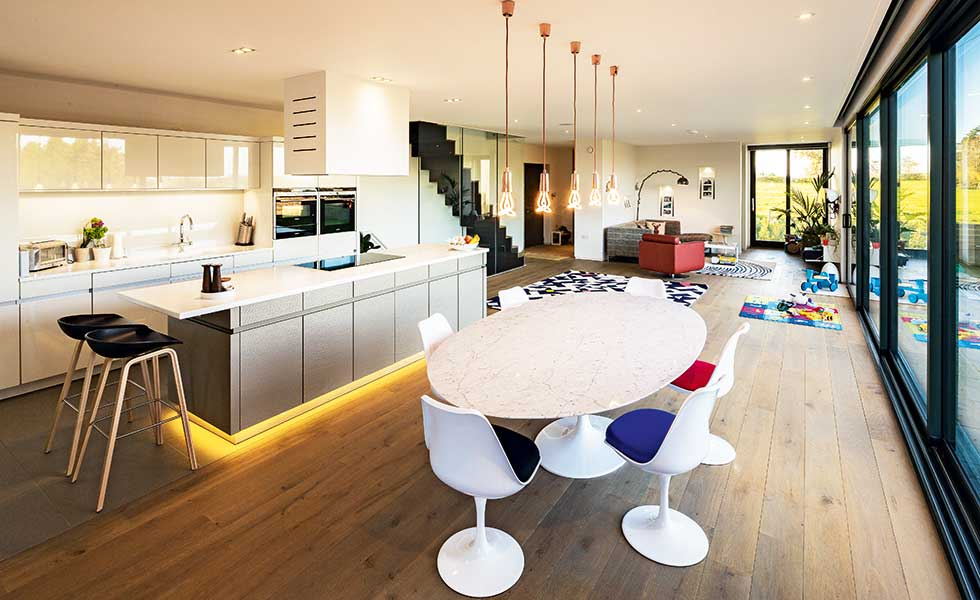 Oxfordshire self build open plan living space