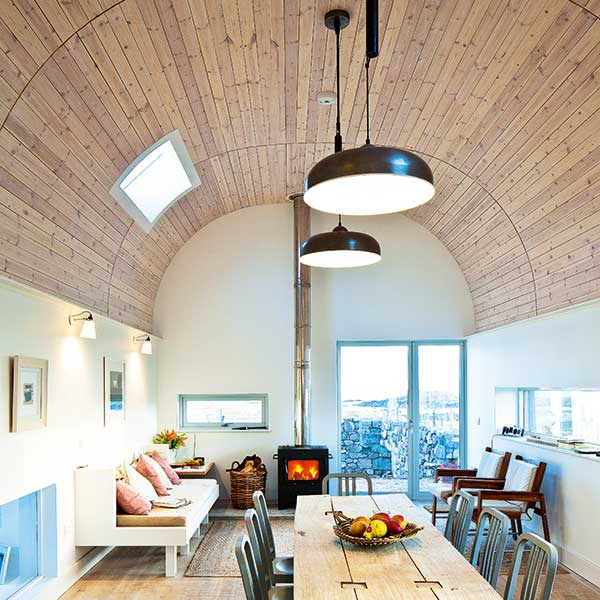lighting ideas for vaulted ceilings. Rounded Vaulted Ceiling Made With Whitewashed Timber In A Scottish Longhouse Lighting Ideas For Ceilings