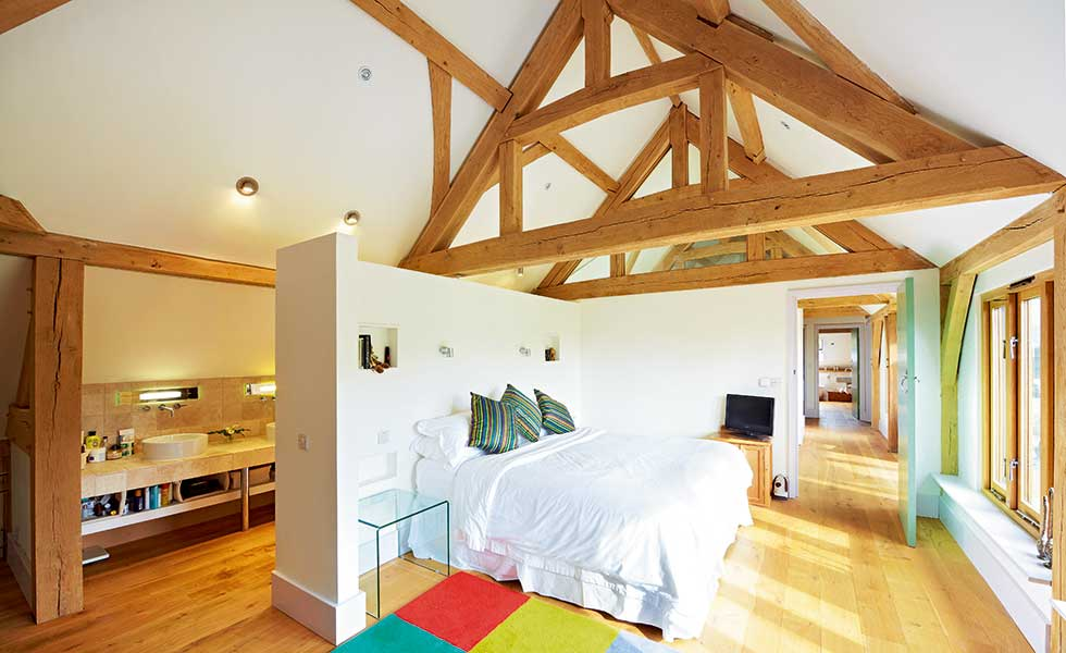 Vaulted Ceiling Of An Open Plan Bedroom And En Suite