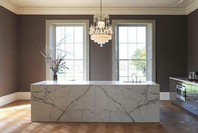 artichoke marble table chandelier two windows