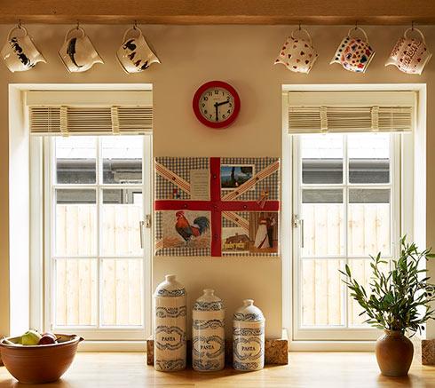 cottage kitchen red clock