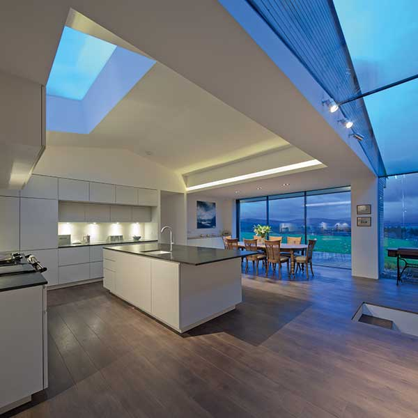ceiling glazing in a kitchen diner to a stone croft