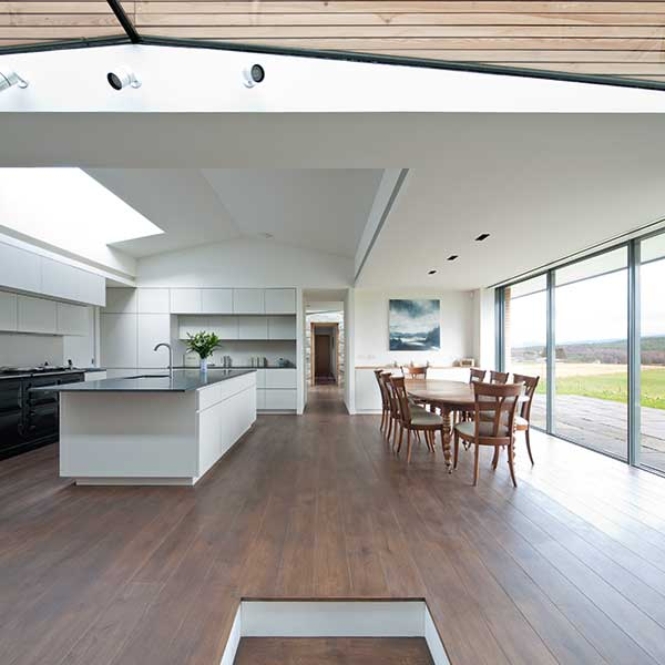 kitchen with frameless sliding glazing
