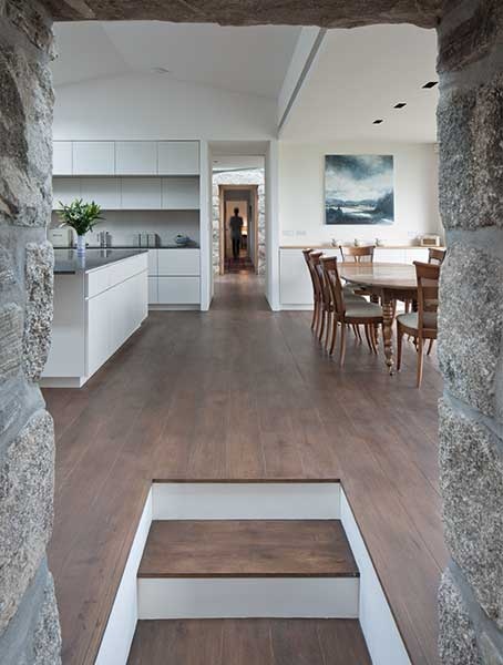 stone walkway in a croft to the open plan kitchen