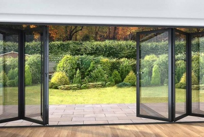 roof maker bifold doors onto garden black
