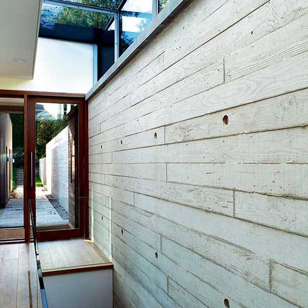 concrete interiors with shuttered walls