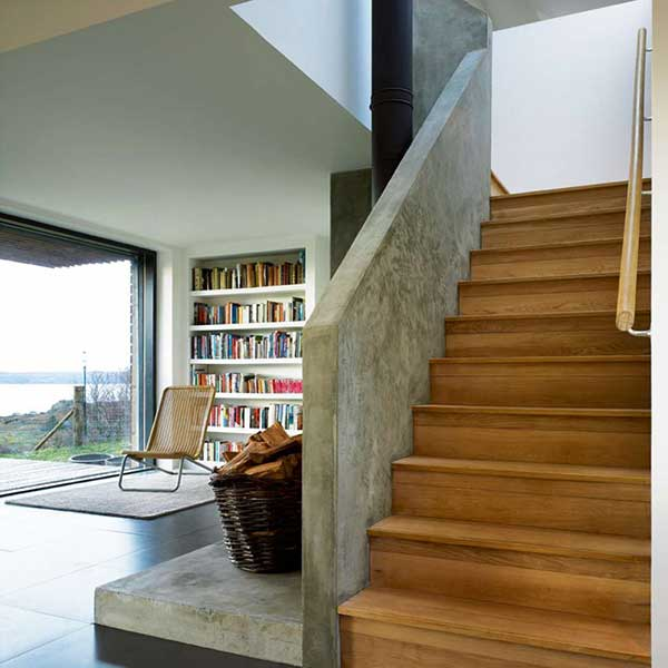 concrete stairwell in modern longhouse
