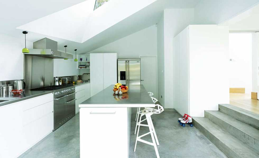 remodelled home with concrete kitchen floor
