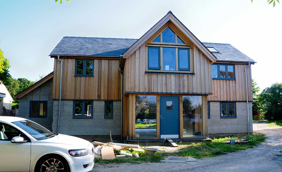 northern elevation of an oak frame home clad with cedar