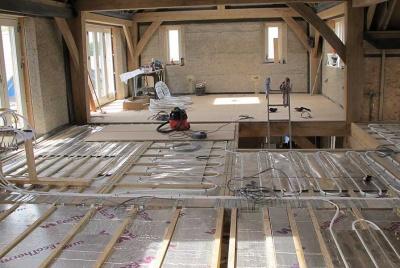 underfloor heating upstairs in an oak frame home