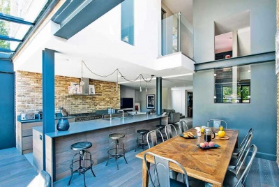 self build with open plan New York loft style kitchen diner