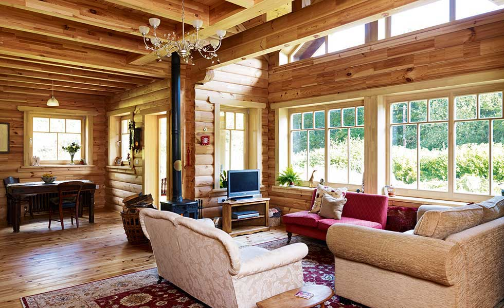 American-style log cabin self build living room