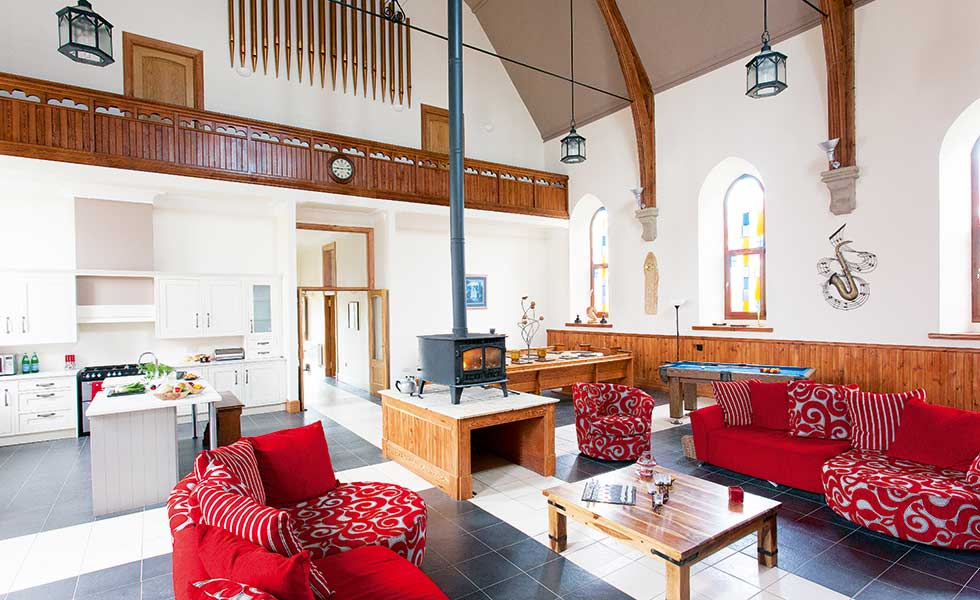 Interior shot of open plan space in a Victorian church conversion