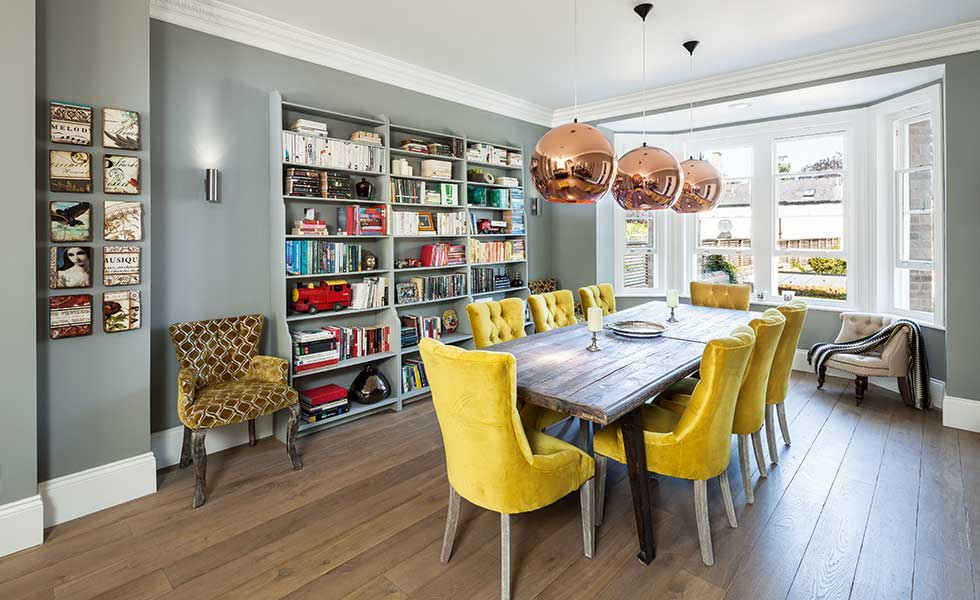 Statement Copper Lights Create A Focal Point Above Dining Table