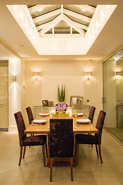 This lighting scheme from john Cullen showcases what can be achieved for lighting a dining room at night