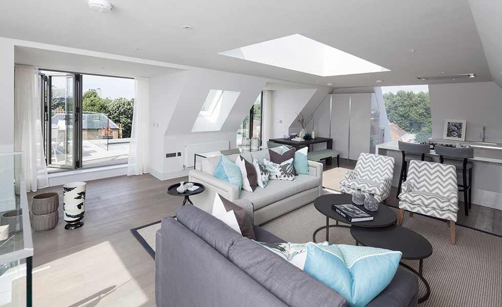 roofglaze rooflight fixed flatglass blue pillows living room