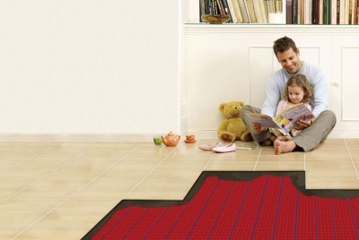 warmup underfloor heating cross section dad and child