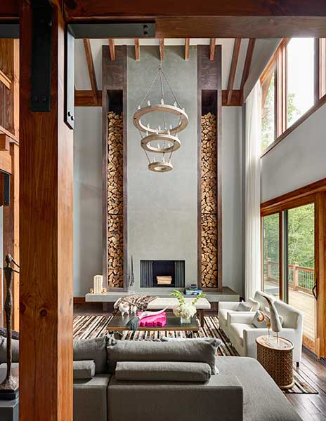 A double-height feature fireplace in North Carolina