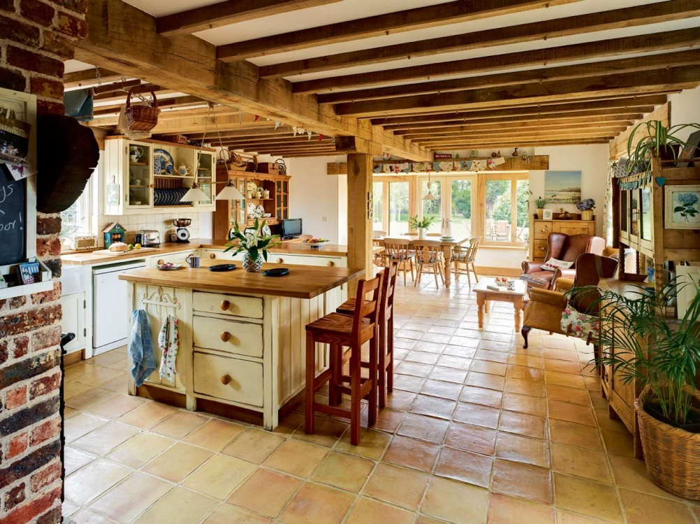 wooden worktops in country kitchen