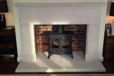 bath stone fireplace log burner