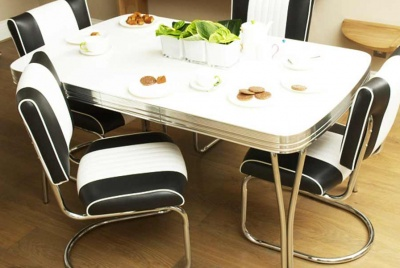 cola red monochrome diner table and chairs