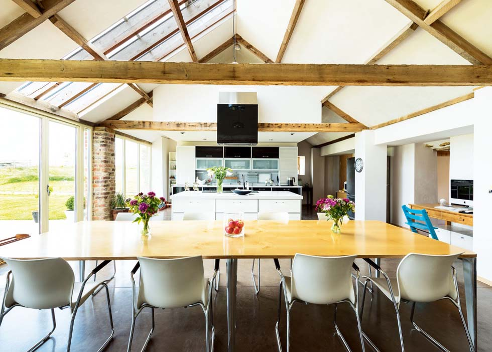 kitchen diner in a converted barn