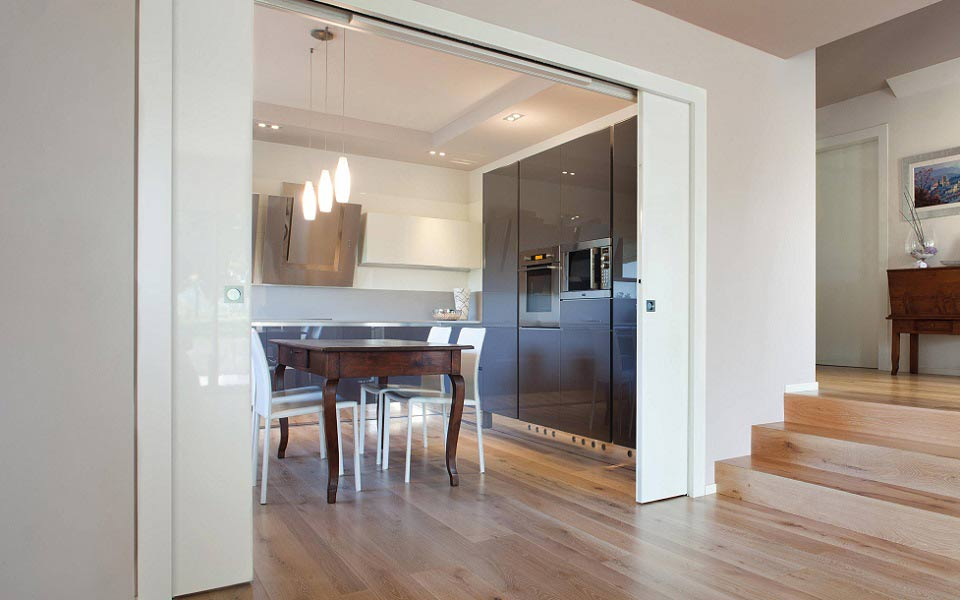 eclisse sliding pocket door dining room interior space saving