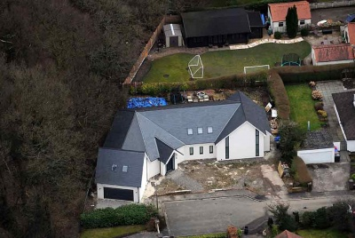 birds eye view new build architecture grey slate roof