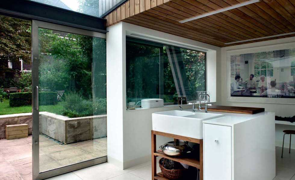 kitchen in a timber clad extension
