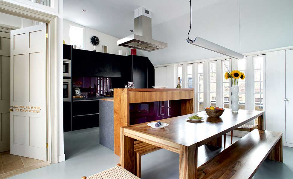 modern kitchen in mansard loft conversion