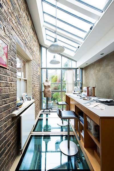 glazed extension containing fashion studio