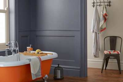 crown paint Flash of Colour – Bath Bomb, Tin Bath and Wheatgrass, all Bathroom Mid Sheen Emulsion