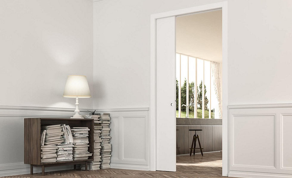 eclisse single sliding pocket door space saving interior