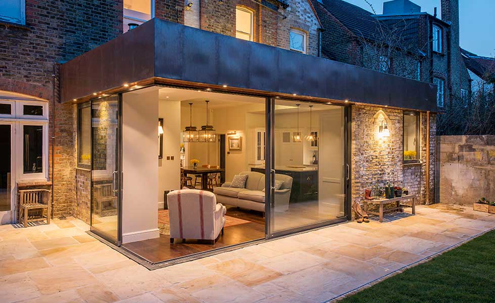 copper clad extension to a period home in a conversation area