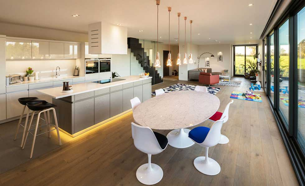 open plan modern kitchen diner