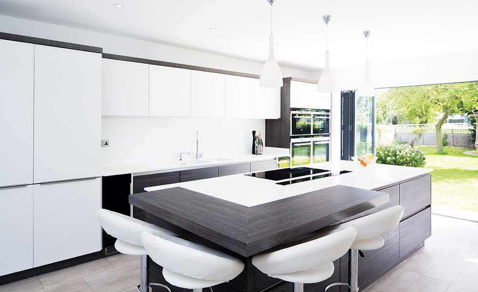 A contemporary state of the art kitchen in a chalet inspired home in Worcestershire