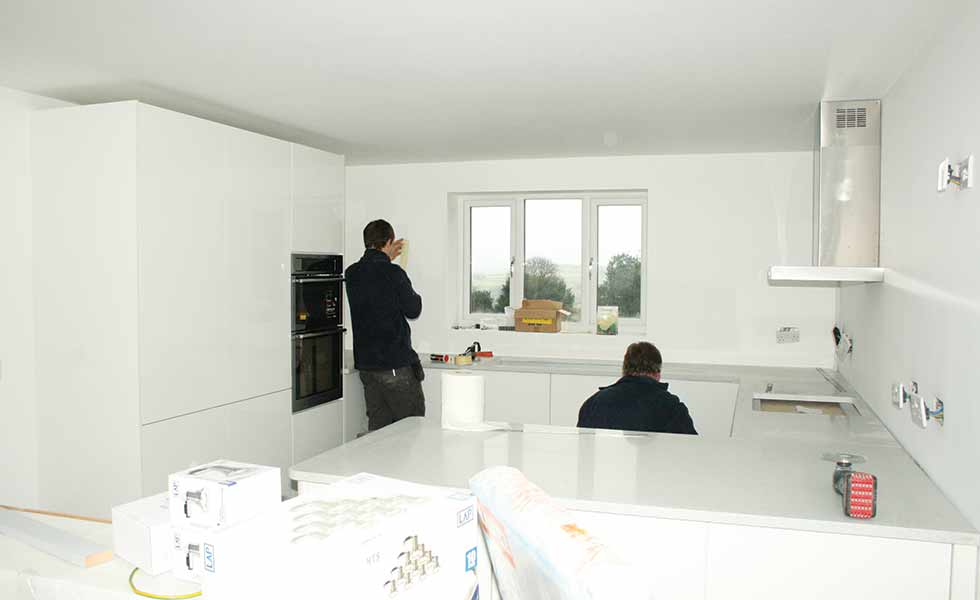The kitchen is installed in David Snell's self build home