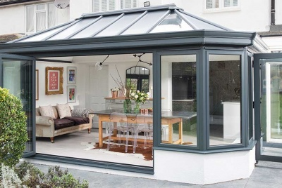 everest conservatory conservatories secure glazing extend glass room grey frame