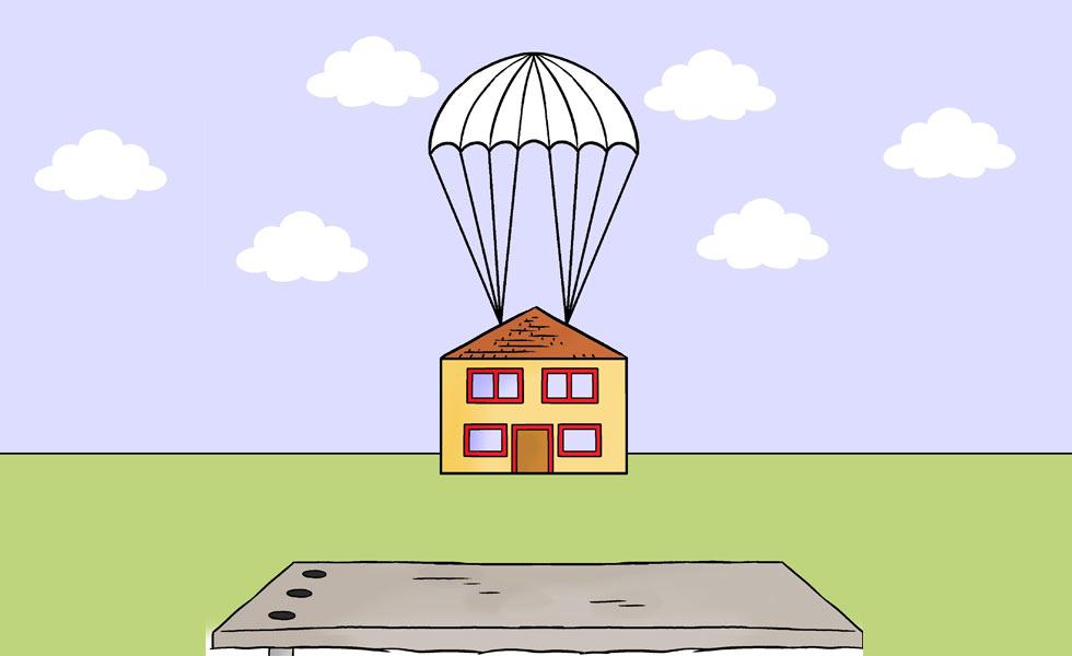 PSM image cartoon house parachute