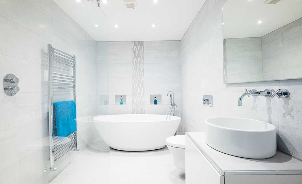 Luxury contemporary bathroom within garage conversion