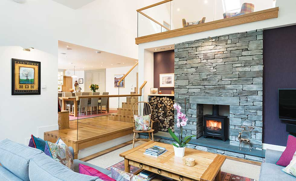 This self build in the Lake District utilises varied ceilings heights within the living space