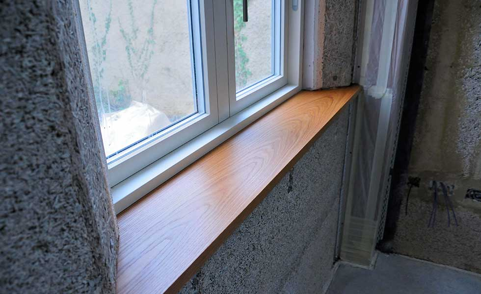 oak window sill of hempcrete home