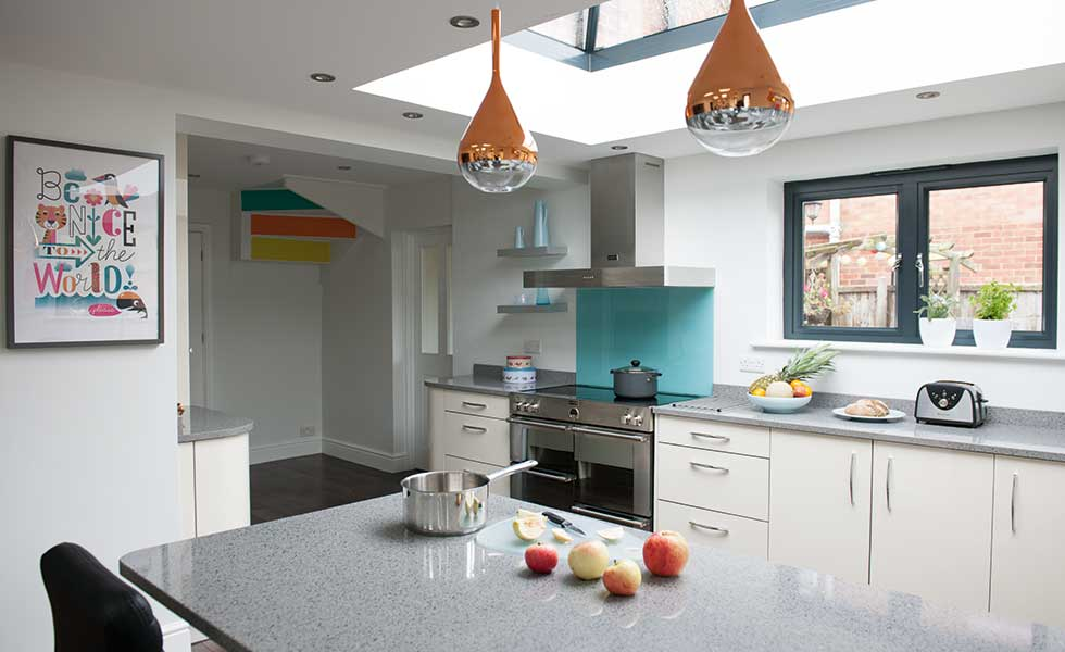Contemporary kitchen extension with roof lantern
