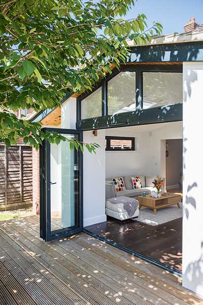 Contemporary extension with aluminium bi-fold doors