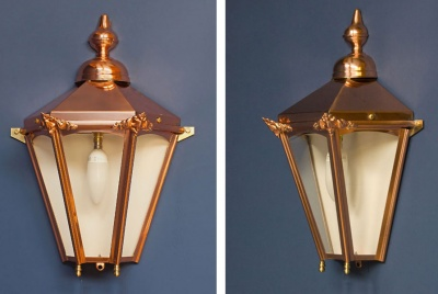 Half Hexagon Copper Wall Lantern