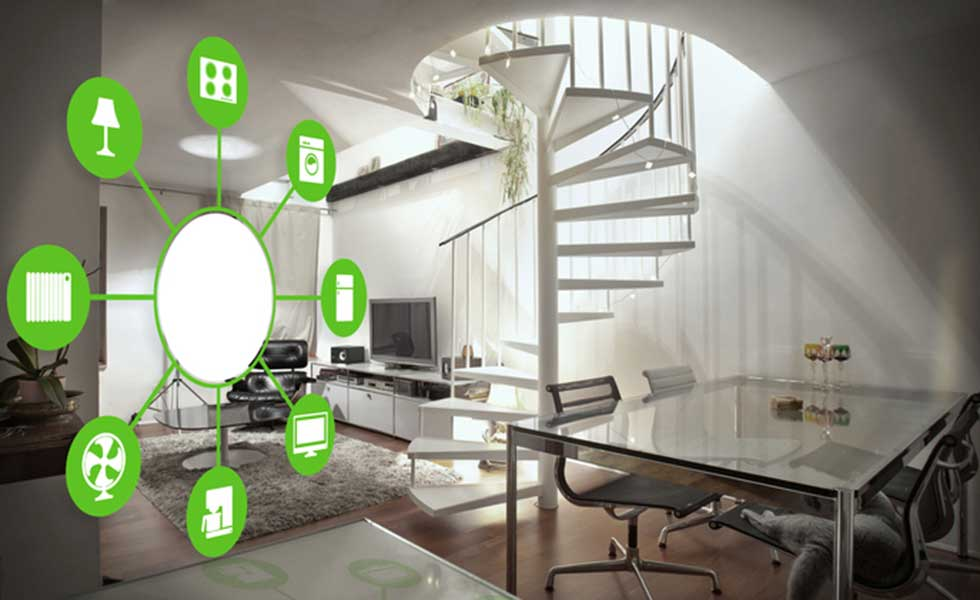 Interior of a home showing smart home automation