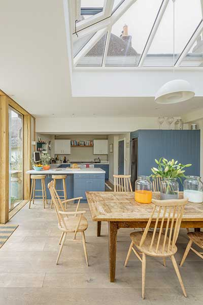 Kitchen extension in bungalow renovation with roof lantern