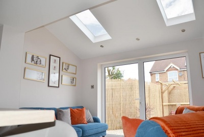 glazing vision Pitched roof windows for kitchen extension